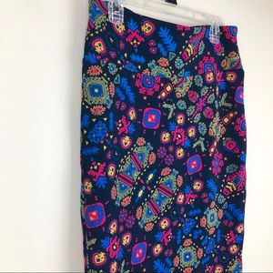 LuLaRoe Cassie Pencil Skirt Blue Pink Mustard L